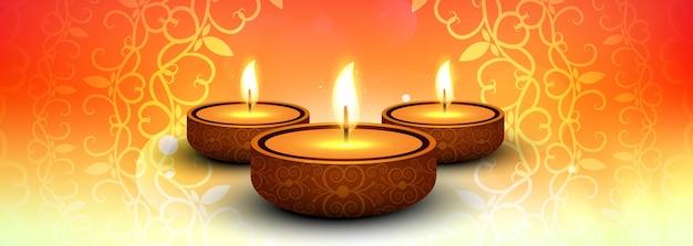 Insegna variopinta di diwali felice elegante con il vettore del fondo di festival