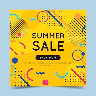 Insegna variopinta di vendita di estate con elementi geometrici astratti alla moda e luminoso.