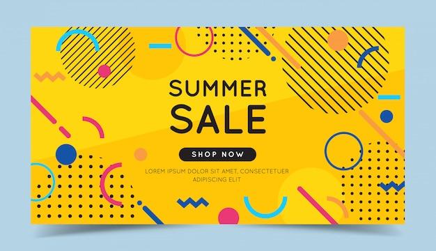 Insegna variopinta di vendita di estate con elementi geometrici astratti alla moda e sfondo luminoso.