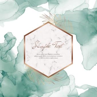 Insegna verde dell'inchiostro dell'alcool con le strutture e le foglie di marmo geometriche. modello alla moda