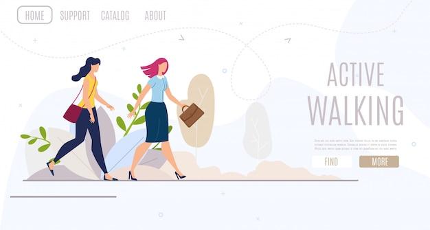 Insegna web piana di camminata attiva delle donne