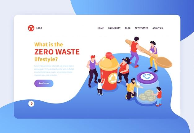 Insegna zero di concetto di stile di vita dei rifiuti con la gente che prende cura dell'illustrazione isometrica dell'ambiente 3d