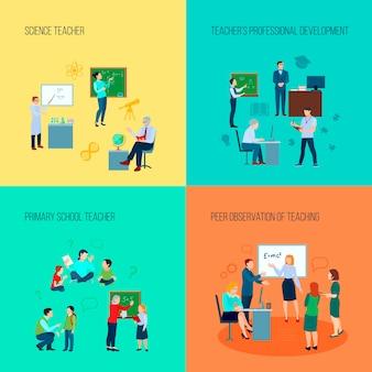 Insegnante 2x2 concetto di design con insegnanti di scienze e scuola primaria e osservazione peer di insegnare illustrazione vettoriale piatta