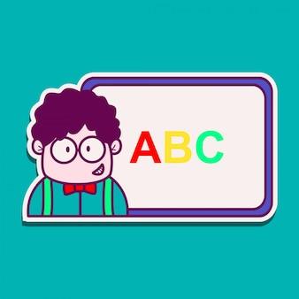 Insegnante cartoon doodle kawaii sticker illustrazione