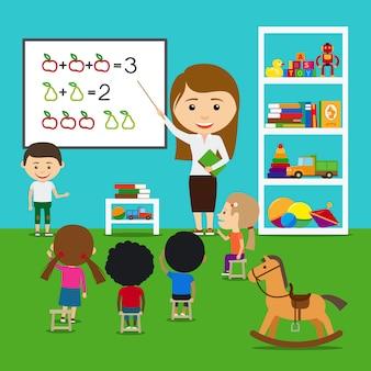 Insegnante che insegna ai bambini