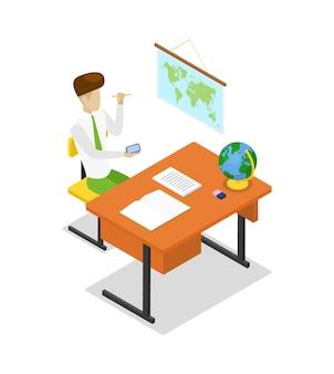 Insegnante che insegna geografia 3d isometrico