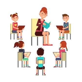 Insegnante che legge il libro ai bambini che siedono in giro. concetto di vettore di educazione dei bambini