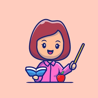 Insegnante con libro e puntatore fumetto icona illustrazione. persone professione icona concetto isolato. stile cartone animato piatto