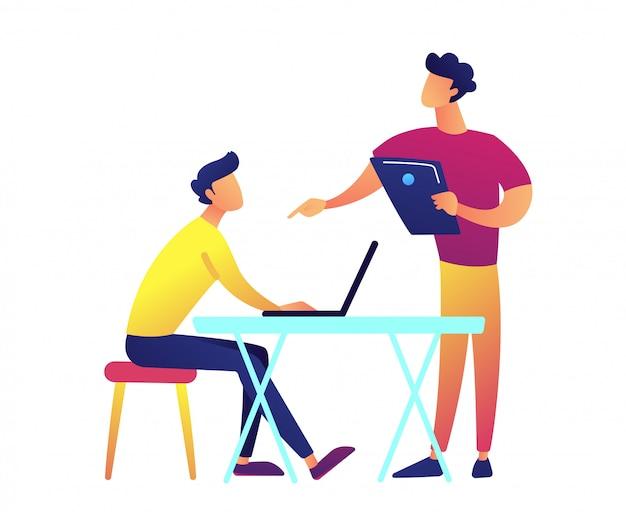 Insegnante con parlare del computer portatile e studente con il computer portatile all'illustrazione di vettore dello scrittorio.