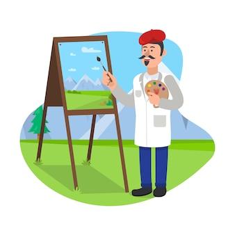 Insegnante d'arte si trova con pennello vicino a cavalletto.