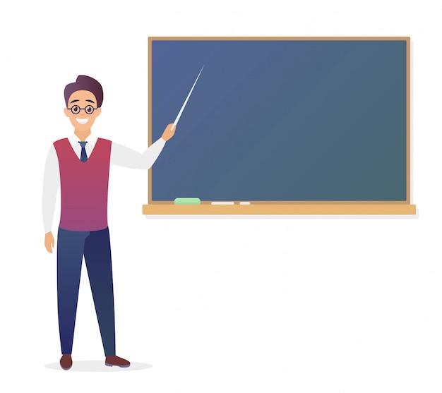 Insegnante del giovane che sta davanti all'illustrazione in bianco della lavagna della scuola. insegnante maschio di scuola simpatico cartone animato in bicchieri in gradiente di colore alla moda.