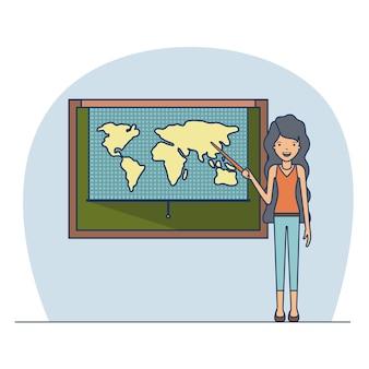 Insegnante della donna con capelli lunghi ondulati sull'aula