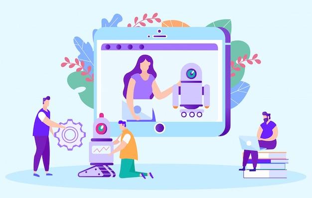 Insegnante di donna. corso online impostazione robot. insegnamento a distanza. e-learning.