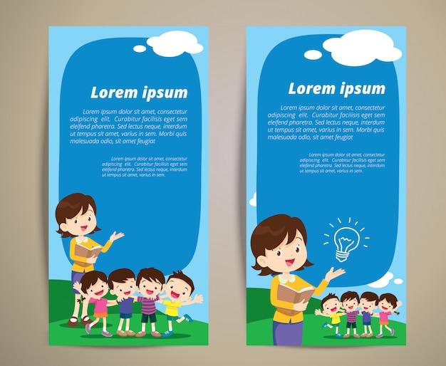 Insegnante di educazione bambini ragazzo e ragazza per banner