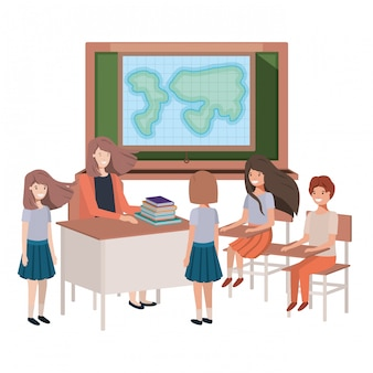 Insegnante di sesso femminile nella classe di geografia con gli studenti