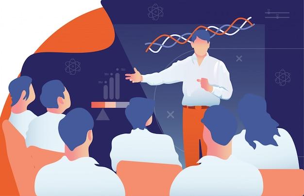 Insegnante di sesso maschile sta dando un conferenziere al pubblico