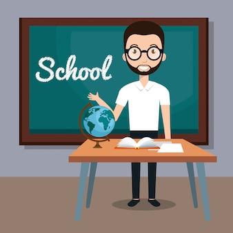 Insegnante di uomo in classe