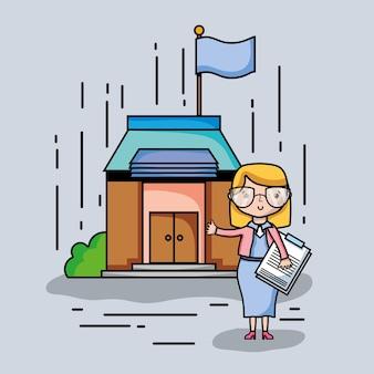Insegnante donna con occhiali e scuola eduzione