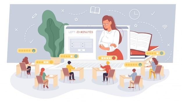 Insegnante e alunni che effettuano un esame a distanza