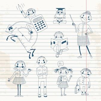 Insegnante e scolari disegnati a mano.
