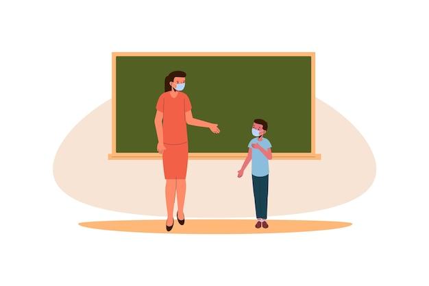 Insegnante e studenti che indossano il concetto di maschera