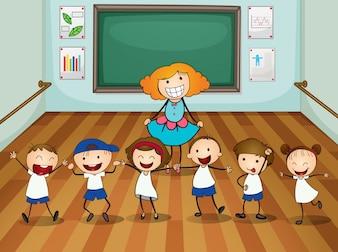 Insegnante e studenti in lezioni di ballo