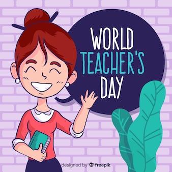 Insegnante femminile di composizione del giorno degli insegnanti del mondo