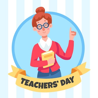Insegnante femminile felice che tiene un libro