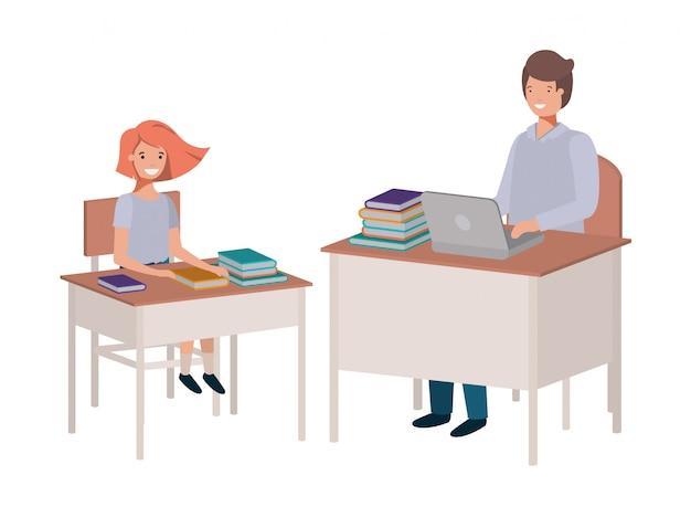 Insegnante in classe con lo studente