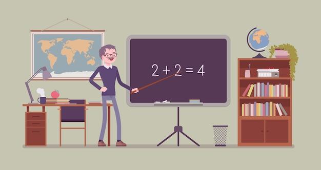 Insegnante maschio sta al consiglio