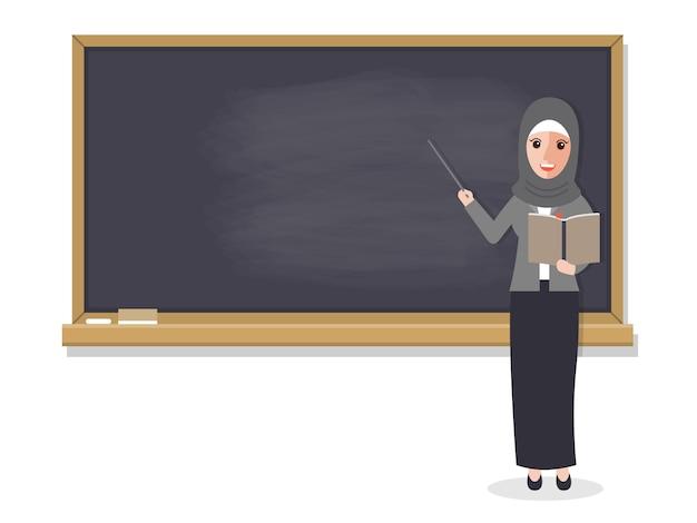 Insegnante musulmano che insegna studente in aula.