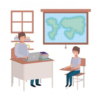 Insegnante nella classe di geografia con gli studenti