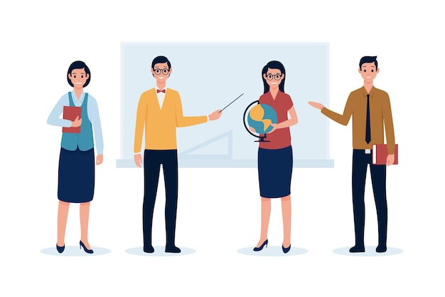 Insegnanti con oggetti in mano