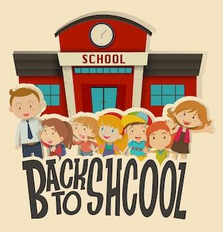 Insegnanti e bambini a scuola