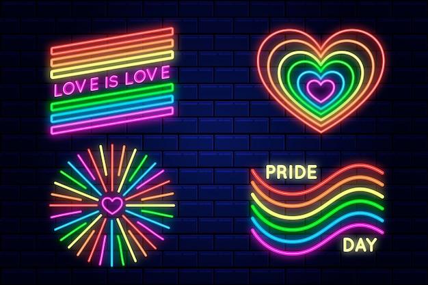 Insegne al neon del giorno dell'orgoglio