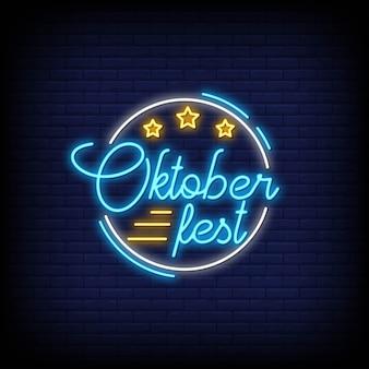 Insegne al neon dell'oktoberfest