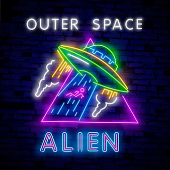 Insegne al neon della raccolta spaziale.