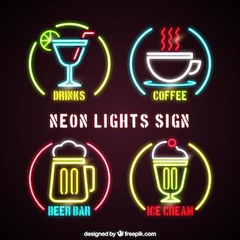 Insegne Al Neon Di Bar Vettore Gratis