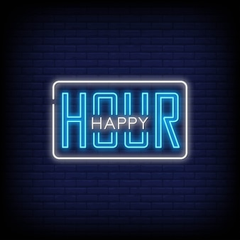 Insegne al neon di happy hour in stile testo