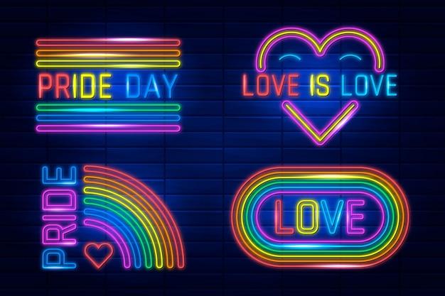 Insegne al neon per il set di eventi del giorno dell'orgoglio