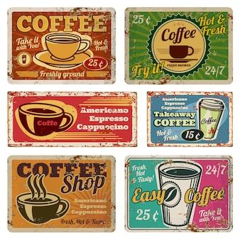 Insegne d'annata di vettore del metallo della caffetteria e del caffè in vecchio stile degli anni 40