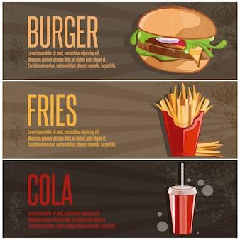Insegne degli alimenti a rapida preparazione con le patate fritte e la cola dell'hamburger