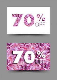 Insegne del fondo di vendita della primavera con i fiori rosa