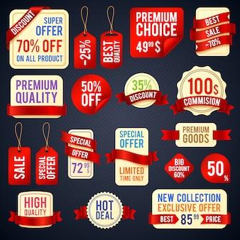 Insegne del nastro di vendita di festa e distintivi dell'autoadesivo con l'insieme promozionale di vettore del testo