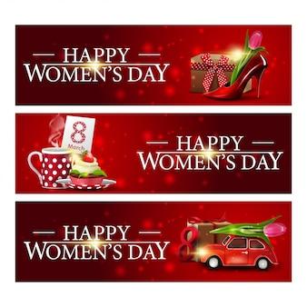 Insegne di congratulazioni orizzontali rosse del giorno delle donne tre