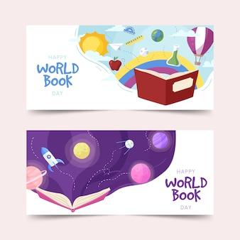 Insegne di giorno del libro del mondo disegnato a mano