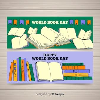 Insegne di giorno del libro di mondo disegnato a mano