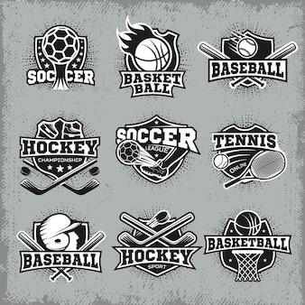 Insegne di stile retrò di sport e competizioni