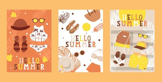 Insegne di vacanza di estate, illustrazione. volantino agenzia di viaggi, icone semplici di accessori moda per le vacanze.