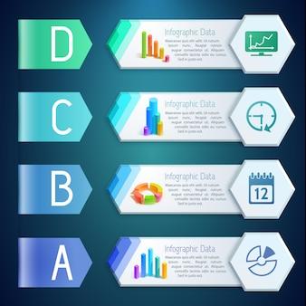 Insegne digitali di infographic con le icone dei grafici dei grafici dei diagrammi del testo sull'illustrazione di quattro opzioni di esagoni